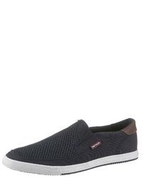 dunkelblaue Slip-On Sneakers aus Segeltuch von Tom Tailor