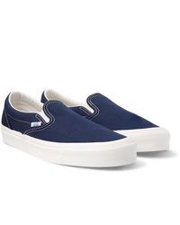dunkelblaue Slip-On Sneakers aus Segeltuch von Vans