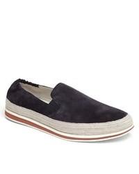 dunkelblaue Slip-On Sneakers aus Wildleder