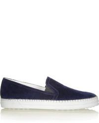 dunkelblaue Slip-On Sneakers aus Wildleder von Tod's
