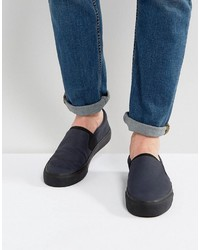 dunkelblaue Slip-On Sneakers von Asos