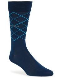 dunkelblaue Socken mit Argyle-Muster