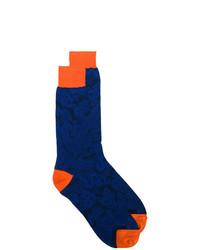 dunkelblaue Socken mit Blumenmuster von Etro
