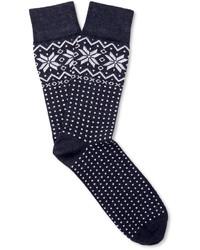 dunkelblaue Socken mit Fair Isle-Muster