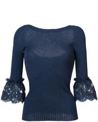 dunkelblaue Spitze Bluse von Oscar de la Renta