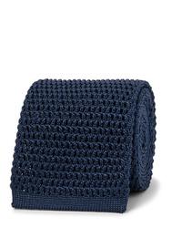 dunkelblaue Strick Krawatte von Tom Ford