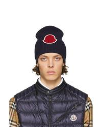 dunkelblaue Strick Mütze von Moncler