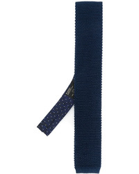 dunkelblaue Strick Seidekrawatte von Etro