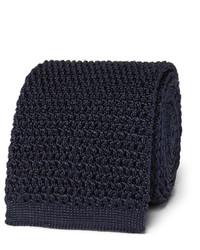 dunkelblaue Strick Seidekrawatte von Tom Ford