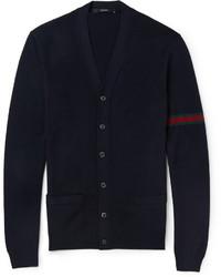 dunkelblaue Strick Strickjacke von Gucci