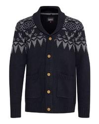 dunkelblaue Strickjacke mit einem Schalkragen mit Norwegermuster von BLEND