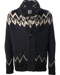 dunkelblaue Strickjacke mit einem Schalkragen mit Norwegermuster von Laneus