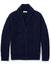 dunkelblaue Strickjacke mit einem Schalkragen von Burberry