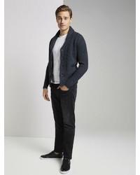 dunkelblaue Strickjacke mit einem Schalkragen von Tom Tailor