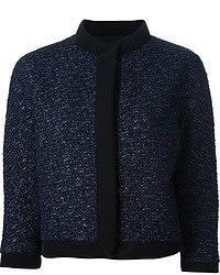 dunkelblaue Tweed-Jacke