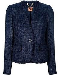 dunkelblaue Tweed-Jacke von Tory Burch