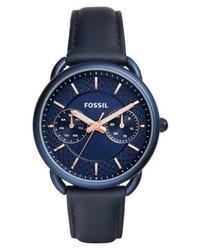 Dunkelblaue Uhr von Fossil