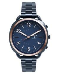 dunkelblaue Uhr von Fossil Q