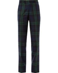 dunkelblaue und grüne Anzughose mit Schottenmuster