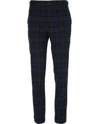 dunkelblaue und grüne Anzughose mit Schottenmuster von Beams