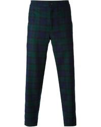 dunkelblaue und grüne Anzughose mit Schottenmuster von Golden Goose Deluxe Brand