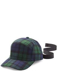 dunkelblaue und grüne Baseballkappe mit Schottenmuster