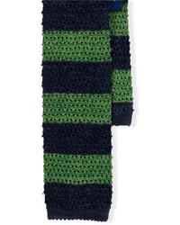dunkelblaue und grüne horizontal gestreifte Wollkrawatte