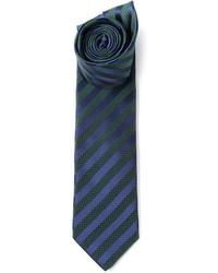 dunkelblaue und grüne vertikal gestreifte Krawatte von Lanvin