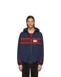 dunkelblaue und rote Windjacke von Gucci