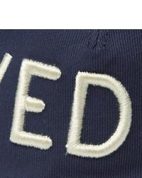 dunkelblaue und weiße bedruckte Baseballkappe von Gucci