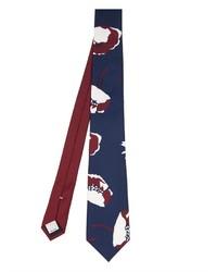 dunkelblaue und weiße bedruckte Krawatte