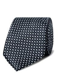 dunkelblaue und weiße bedruckte Krawatte von Giorgio Armani