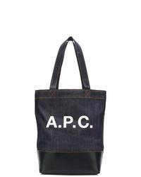 dunkelblaue und weiße bedruckte Shopper Tasche aus Segeltuch