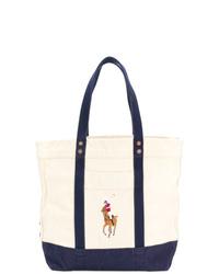 dunkelblaue und weiße bedruckte Shopper Tasche aus Segeltuch von Polo Ralph Lauren