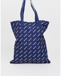 dunkelblaue und weiße bedruckte Shopper Tasche aus Segeltuch von Reebok