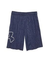 dunkelblaue und weiße bedruckte Shorts