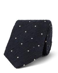 dunkelblaue und weiße gepunktete Krawatte von Drake's