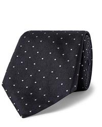 dunkelblaue und weiße gepunktete Krawatte von Hugo Boss