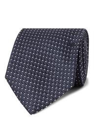 dunkelblaue und weiße gepunktete Krawatte von Tom Ford