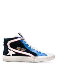 dunkelblaue und weiße hohe Sneakers aus Segeltuch