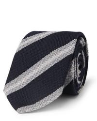 dunkelblaue und weiße horizontal gestreifte Krawatte von Brioni