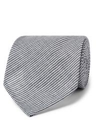 dunkelblaue und weiße horizontal gestreifte Krawatte von Rubinacci