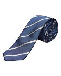 dunkelblaue und weiße horizontal gestreifte Krawatte von Selected Homme