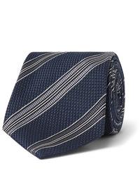 dunkelblaue und weiße horizontal gestreifte Krawatte von Tom Ford