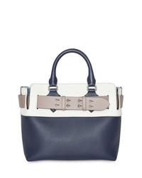 dunkelblaue und weiße horizontal gestreifte Shopper Tasche aus Leder von Burberry