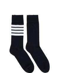 dunkelblaue und weiße horizontal gestreifte Socken von Thom Browne