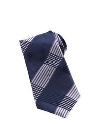 dunkelblaue und weiße Krawatte mit Schottenmuster