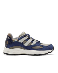 dunkelblaue und weiße Leder niedrige Sneakers