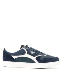 dunkelblaue und weiße Leder niedrige Sneakers von Emporio Armani
