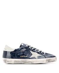 dunkelblaue und weiße Leder niedrige Sneakers von Golden Goose